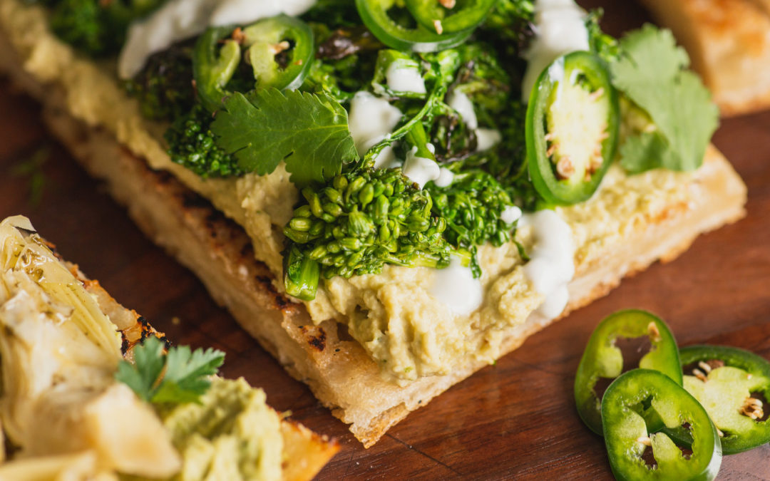 Open-faced Cilantro Jalapeño Hummus Sandwich on Focaccia
